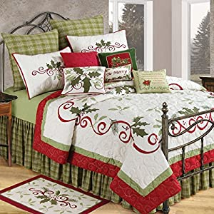 C&F Home Luxury Oversized Quilt, Luxury Oversized Quilt, HOLIDAY GARLAND