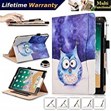 DHZ New iPad 9.7 Inch 2017 /iPad Air 2 /iPad Air Case - [Secure Hand Strap] Multi-Angle Viewing Slim Folio Stand Flip Smart Cover w/ Pocket Card Slots, Pencil Holder, Auto Wake/Sleep, Cute Owl