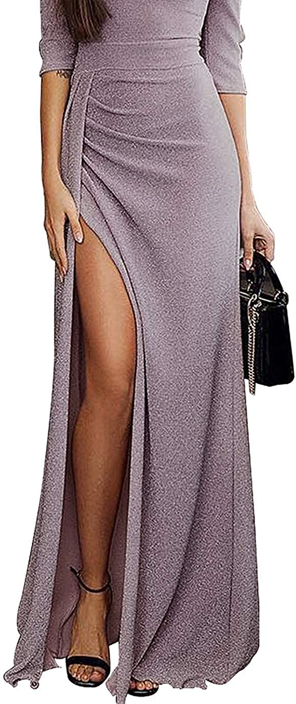 Tiksawon Womens Dresses Off The Shoulder Sequin Party Evening Long Maxi Dress Gown with Slit