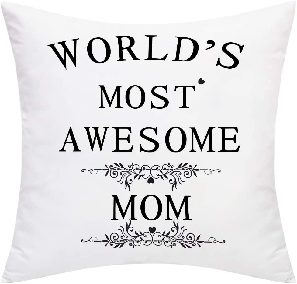 BLEUM CADE Throw Pillow Cover World's Most Awesome Mom Pillow Case Cushion Cover for Mother 's Day Decorative Pillow Case Home Decoration