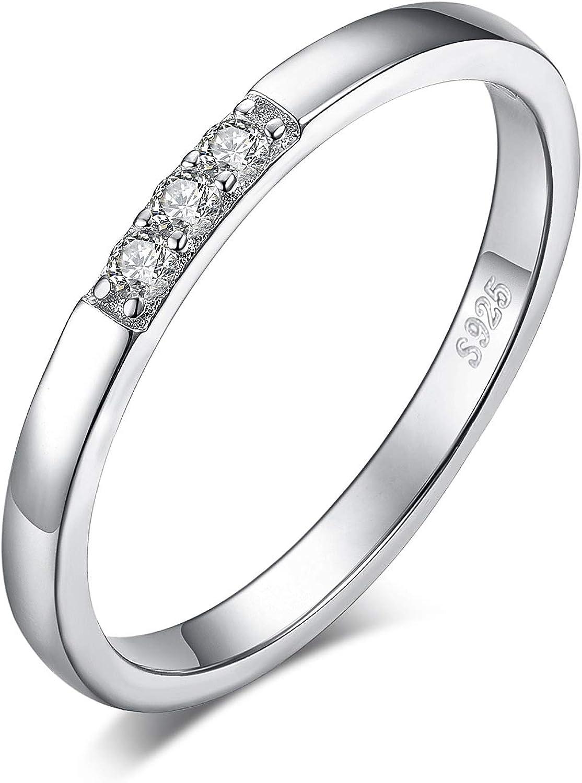 JewelryPalace Anillo Nupcial Conjunto de 3 Piedra Zirconia cúbica ...