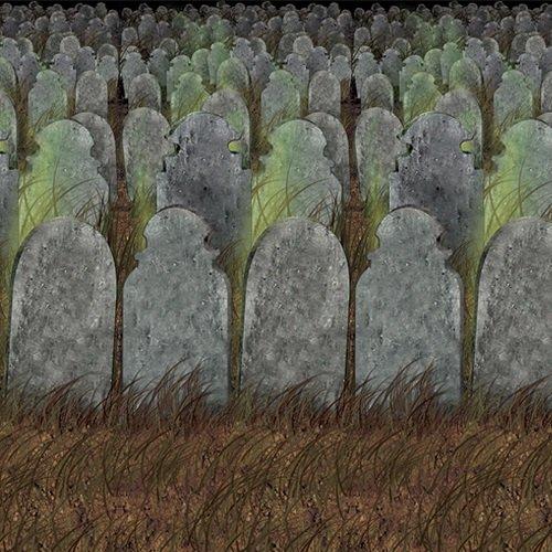 Graveyard Backdrop Insta-theme Decorations Pkg/3