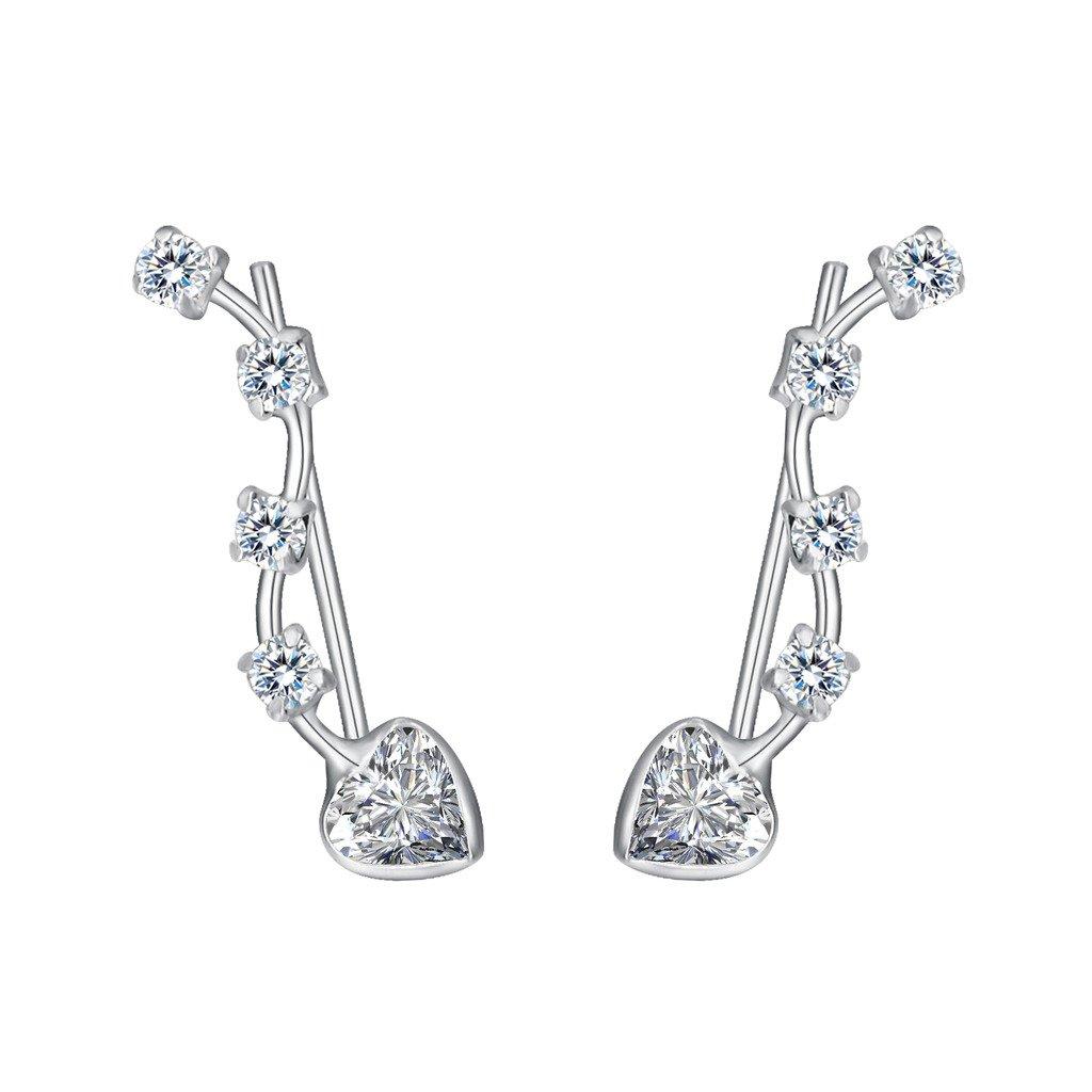 EleQueen 925 Sterling Silver Full Cubic Zirconia Love Heart Ear Crawlers Sweep Cuff Hook Earrings 1 Pair