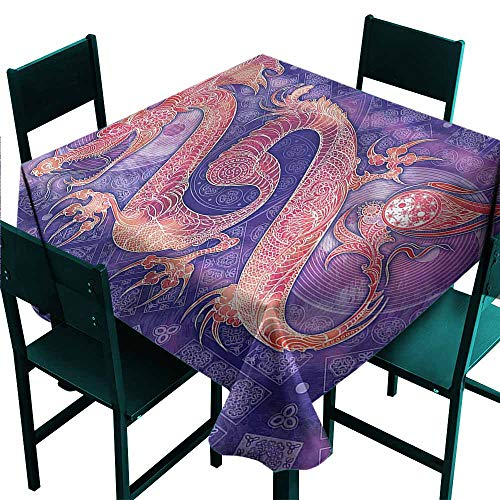 DONEECKL Oil-Proof and Leak-Proof Tablecloth Dragon Chinese Figure Yin Yang Easy to Clean W54 - Yin Figure