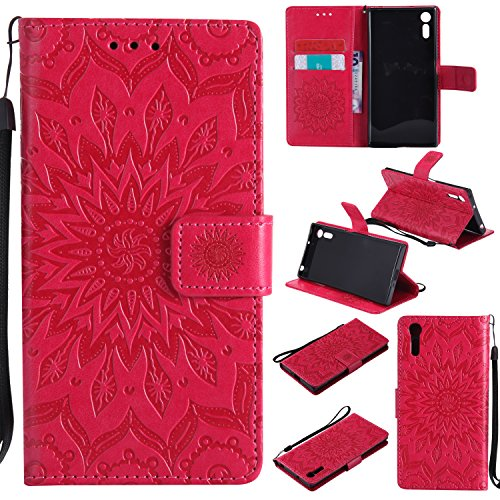 Price comparison product image Xperia XZ / XZs Wallet Case,A-slim(TM) Sun Pattern Embossed PU Leather Magnetic Flip Cover Card Holders & Hand Strap Wallet Purse Case for Sony Xperia XZs / XZ - Red