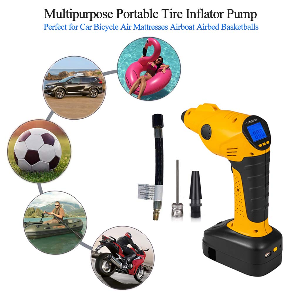 CARYWON Portable Air Compressor Pump Cordless Tire Inflator with Digital Display and LED Lights ,Built-in Power Bank Perfect for Car Bicycle Air Mattresses Airboat Airbed Basketballs by CARYWON (Image #5)