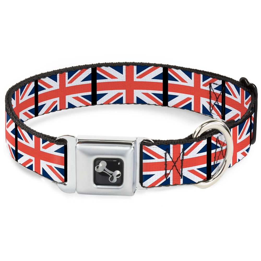 Buckle-Down Seatbelt Buckle Dog Collar United Kingdom Flags 1.5  Wide Fits 13-18  Neck Small
