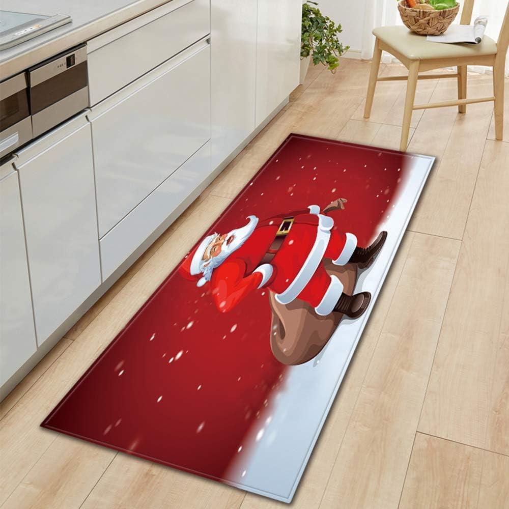 Weehey Alfombra Antideslizante Estilo de Navidad Decoraci/ón del Hogar Sala de Estar Cocina Dormitorio Alfombra Puerta Sof/á Alfombra de Ba/ño Felpudo de Navidad