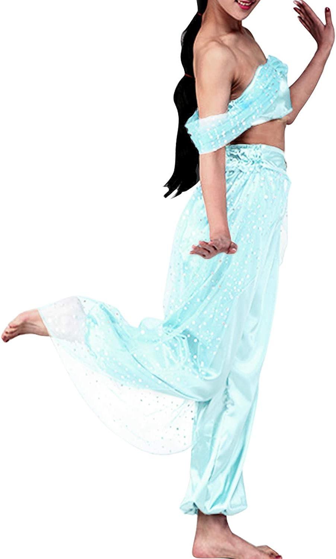 Quesera Womens Princess Jasmine Costume Set Aladdin Arabian Harem Pants Outfit
