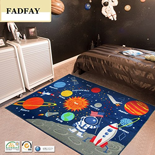 Fadfay outer space kids rug cute kids room carpet 3952 for Kids room carpet