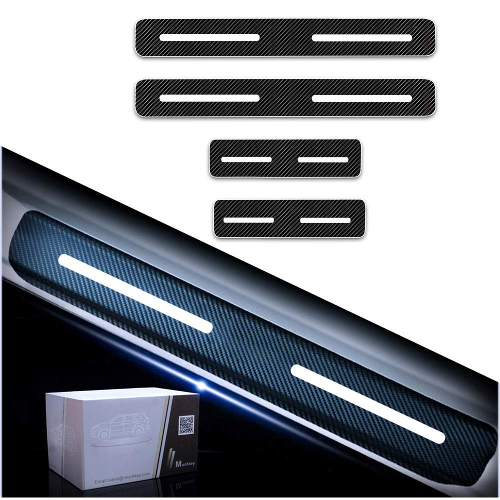 Tuqiang 4Pcs Carbon Fiber Pattern Vinyl Sticker Car Door Sill Scuff Guard Anti-kick Scratch Car Door Sill Protector for 500 500X Panda