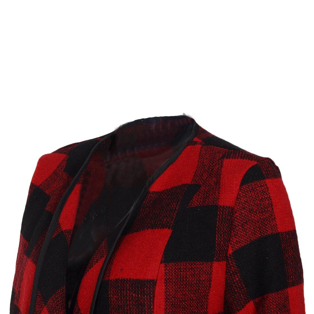 Shinekoo Women Cardigan Jacket Checked Plaid Open Front Coat Outwear by Shinekoo (Image #6)