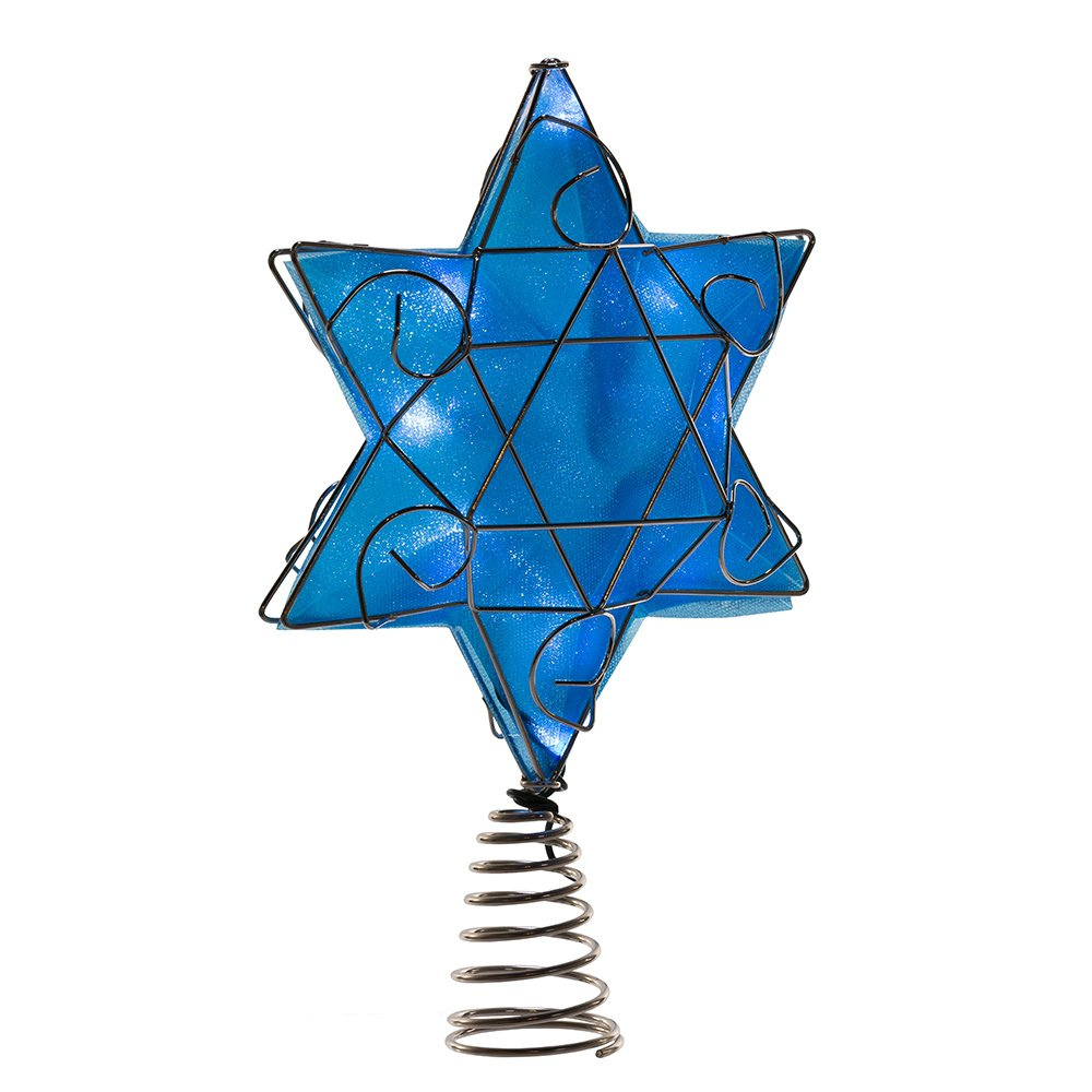Kurt Adler UL 10-Light LED Silver and Blue Hanukkah Star Shimmer Treetop