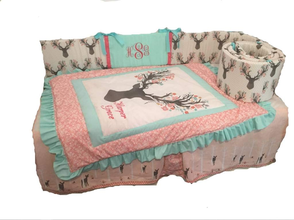 Woodland Large stag buck head 1 to 4 Piece baby girl nursery crib bedding, Personalized,Ruffled Quilt, rail guard,bed skirt, crib sheet, floral deer, fawn forest,Mint,Coral,Gray,Pink