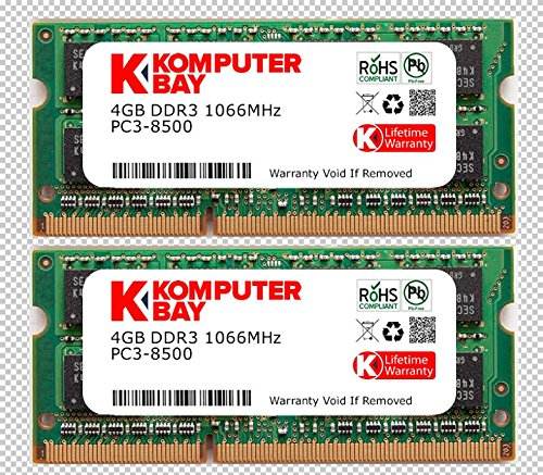 Komputerbay with Samsung semiconductors 8GB Dual Channel Kit 2x 4GB 204pin DDR3-1066 SO-DIMM 1066 PC3-8500 (1066MHz, CL7) (Channel Dual 1066)