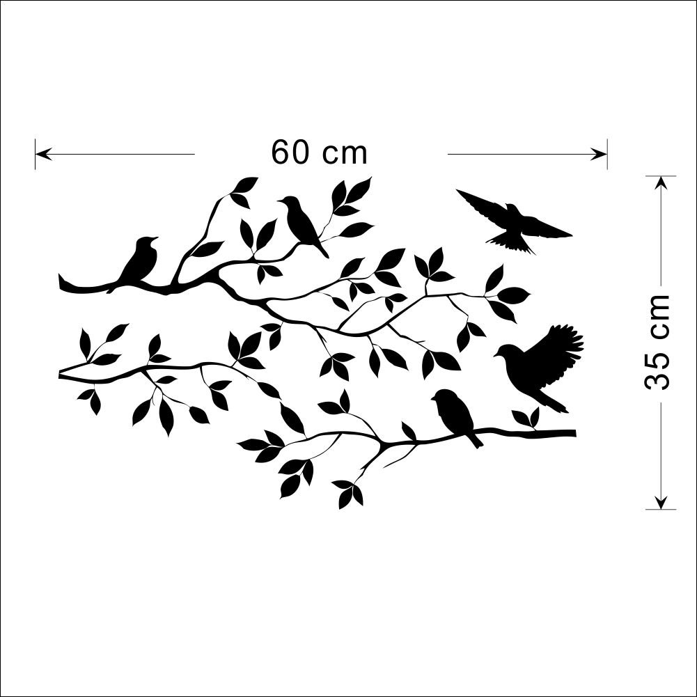 Black Flowers Tree Birds Wall Art Stickers Decal For Home Room - Diy wall decor birds