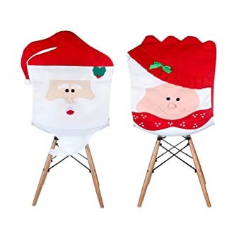 PPARTY Mr Mrs Santa Claus Christmas Kitchen Chair Covers Cute Design Unique For Holiday Party