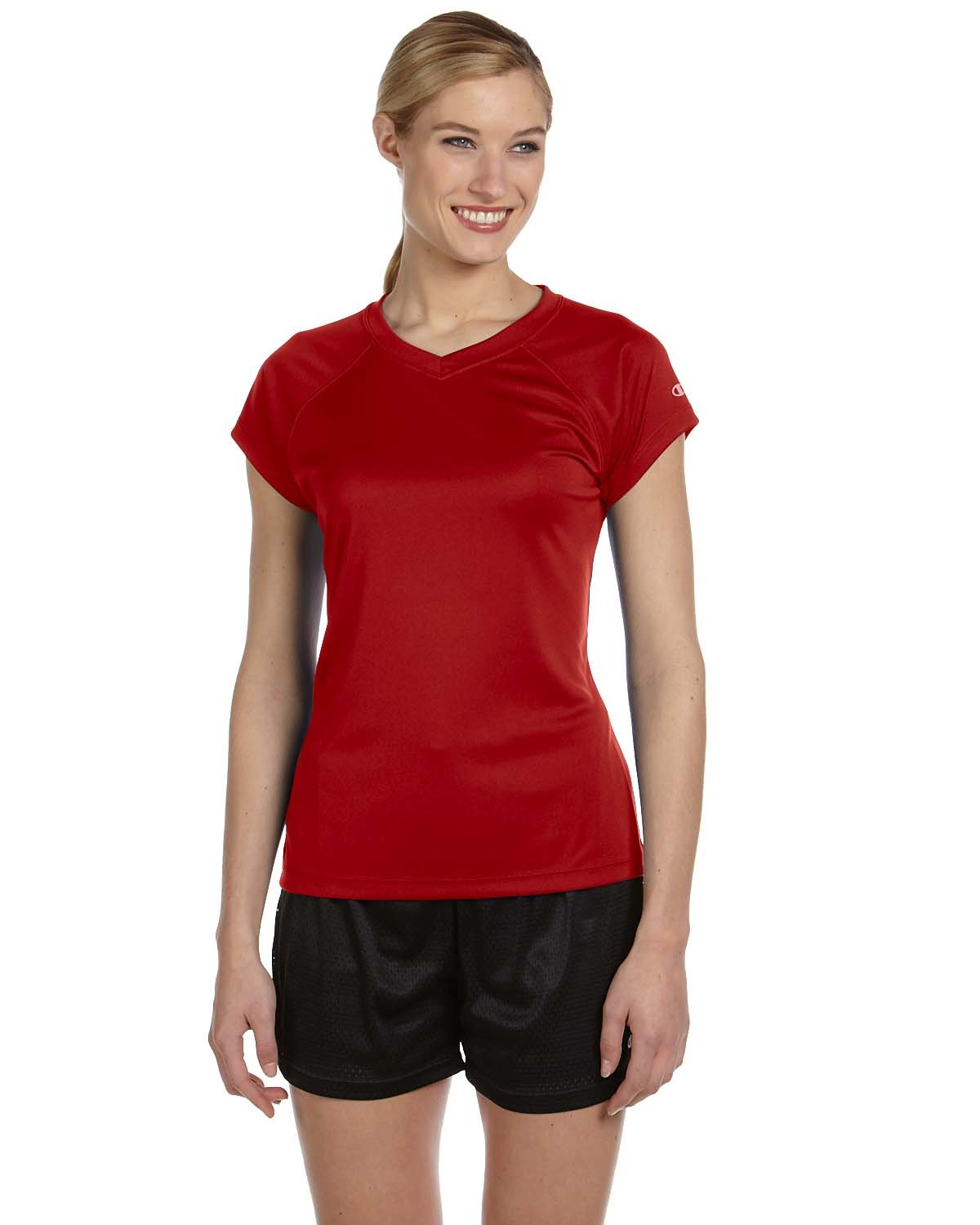 Champion Women's Essential Double Dry V-Neck Tee, Scarlet, Size-L CW23