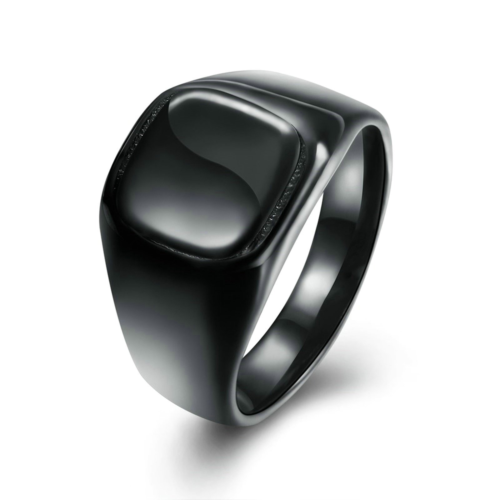 Epinki Gold Plated Men Ring Square Black Ring Engagement Band And Wedding Rings Size 9