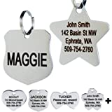 GoTags Stainless Steel Pet ID Tags, Personalized Dog Tags and Cat Tags, up to 8 Lines of Custom Text, Engraved on Both Sides, in Bone, Round, Heart, Bow Tie, Flower, Star and More