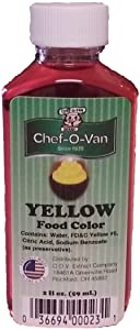 Chef-O-Van Food Coloring, Yellow, 2 Ounce