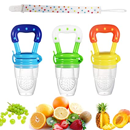 4 Pack Baby Food Fresh Fruit Feeder Pacifier Set Including 3 Different Sized Silicone Teething Pacifiers And 1 Pacifier Clips