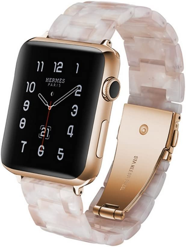 Amazon Com Herbstze For Apple Watch Band 38mm 40mm Fashion Resin Iwatch Band Bracelet With Metal Stainless Steel Buckle For Apple Watch Series 4 Series 3 Series 2 Series 1 White