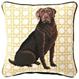 Peking Handicraft 12-Inch by 12-Inch Needle Point Pillow, Chocolate Lab