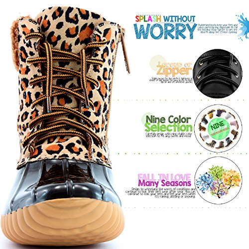 up Mud Duck Boots Rubber Padded Leopard Snow DailyShoes High Rain Cashmere Ankle Warm Women's PU Booties Collar z6xxPwAIqv