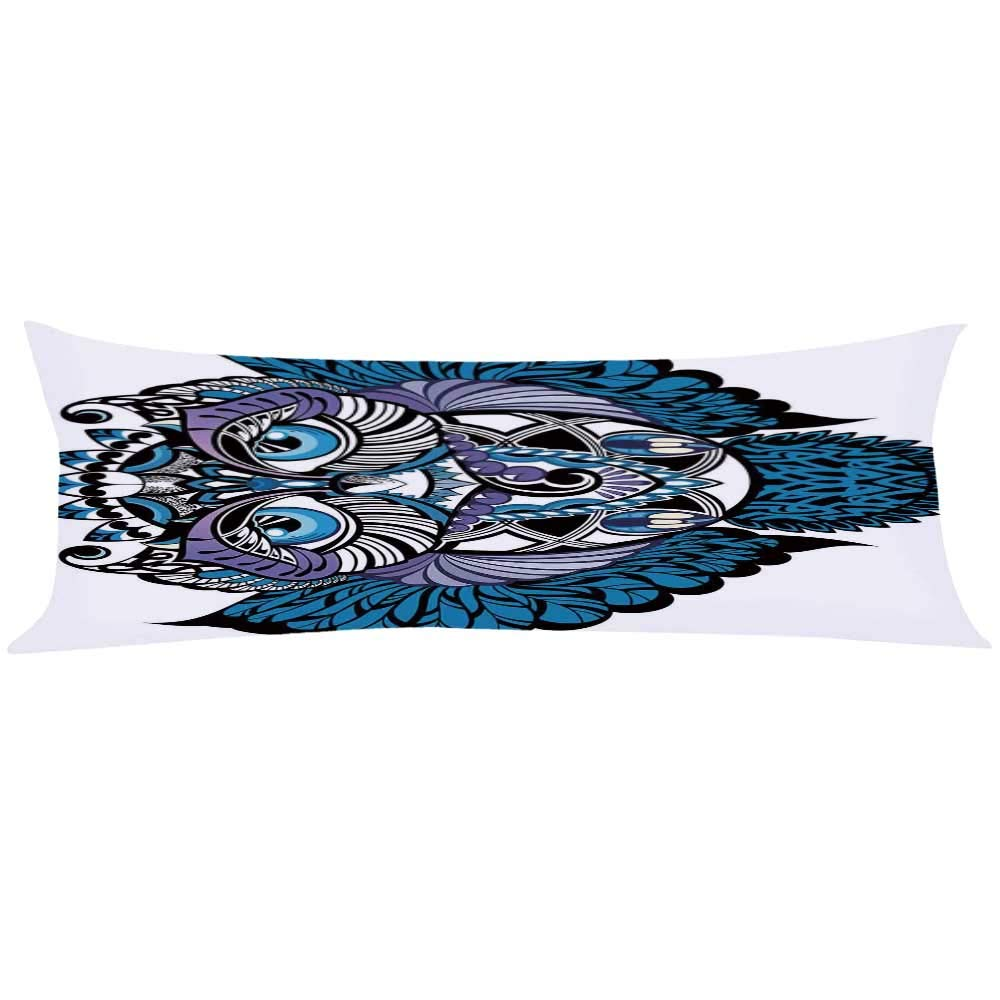 YOLIYANA Tribal Decor Long Body Pillow,Owl Bird Animal with Paisley Tattoo Decor with Big Blue Eyes Lashes for Teens Adults,63'' Lx19.6 W