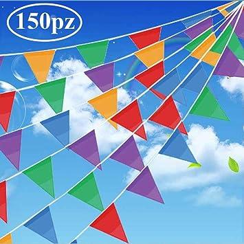 Gudotra 150pcs 80metro Banderines Fiesta Banderín Triangulares Nylon para Decoración de Fiesta Boda Cumpleaños Celebracion Jardín