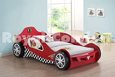 Captivating Childrens Car Beds Boys Red Racing Kids Car Bed Frame With Orthopaedic  Mattress