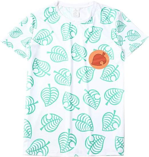 Camiseta De Verano con Cuello Redondo Y Manga Corta Camiseta Animal Crossing Tom Nook Game Jersey Divertido Camiseta con Estampado De Hojas (S- XXXL): Amazon.es: Ropa y accesorios