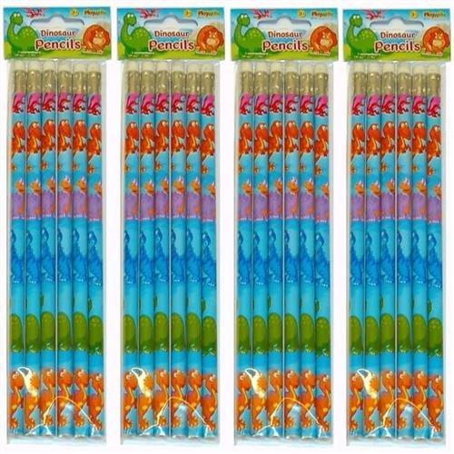 2X12 Dinosaur Full Length Pencils.Eraser top.Party Bag fillers,Teachers Rewards Playwrite