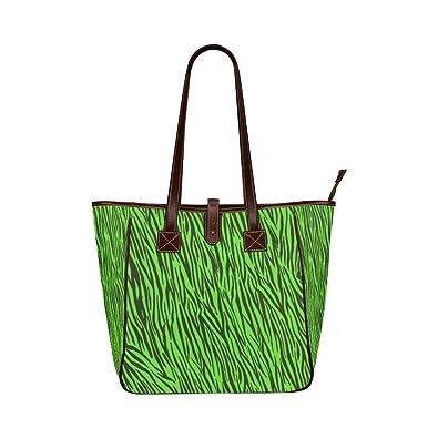 96b183360bec Amazon.com  InterestPrint Women Shoulder Bag Green Zebra Stripes Animal  Print Fur Classic Tote Bag  Shoes