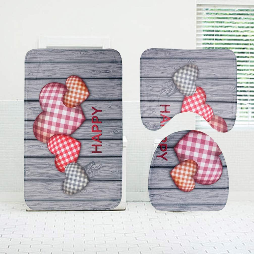 Cabilock 3Pcs Heart Love Plank Bathroom Bath Mat Set Mildew Proof Non-slip Bath Mat U-Shaped Toilet Mat Toilet Lid Cover for Women