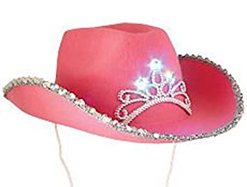 a58eef2d3d6d5 Image Unavailable. Image not available for. Color  Princess Cowboy Blinking  Crown Tiara Girls Pink Cowgirl Hat