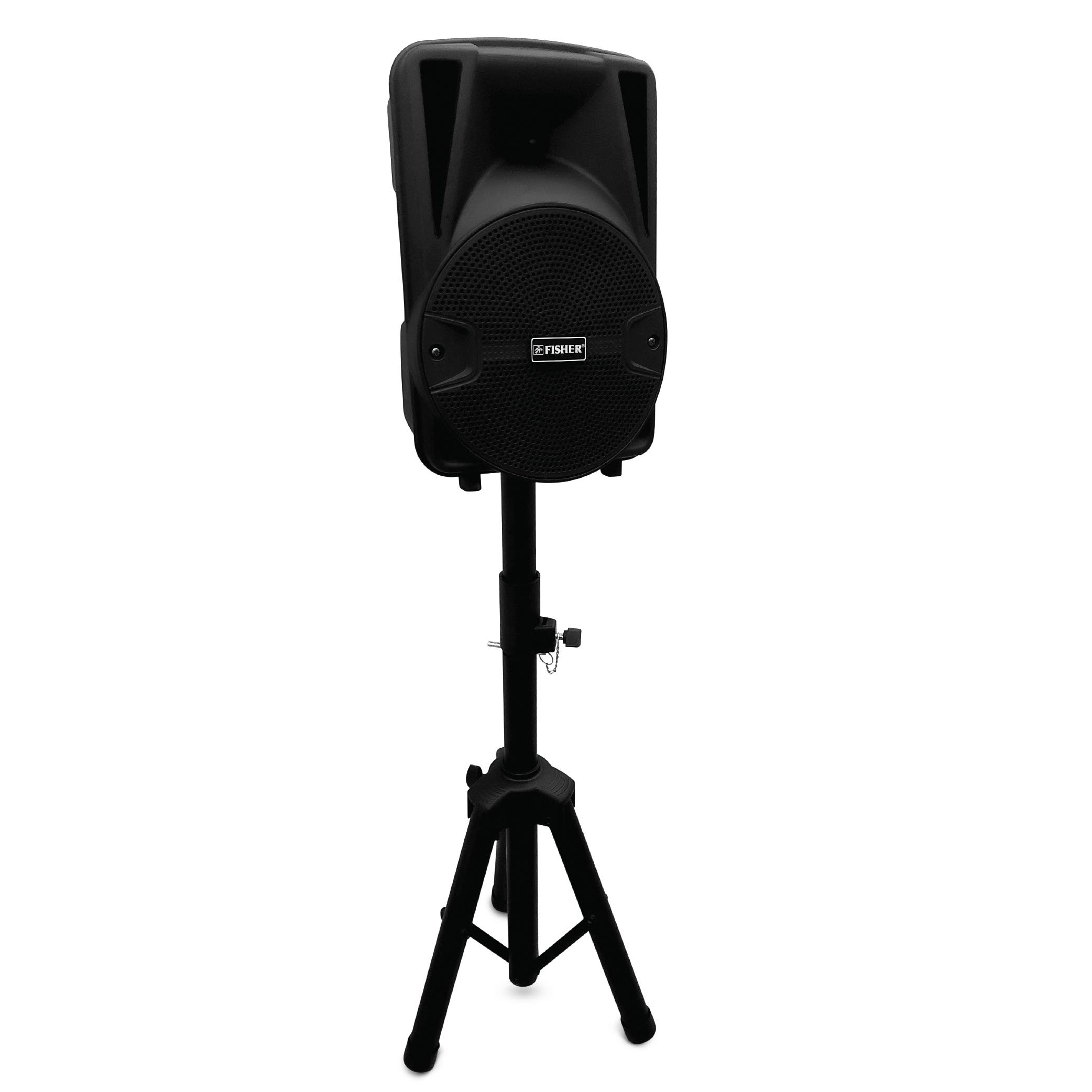 Fisher Compact 8-Inch Portable Speaker System With Wired Microphone, Tripod Speaker Stand and Remote Control, Bluetooth/FM Radio/USB/AUX/Microphone Inputs