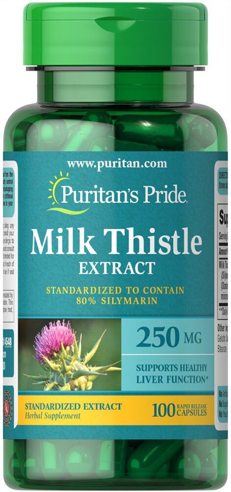 Puritans Pride Milk Thistle Standardized 250 Mg Silymarin Capsules, 100 Count