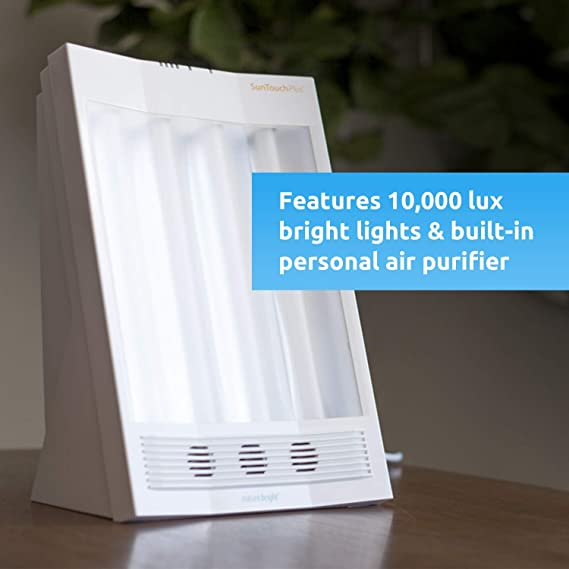 Nature Bright - Sun Touch Plus -10000 LUX Light Therapy Lamp - UV-Free Light Mimics Sunlight - Daylight Lamp - Built-in Personal Air Purifier - Light ...