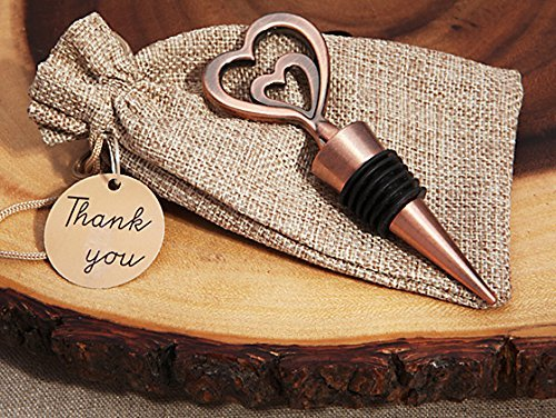 Cassiani Collection Copper Vintage Two Hearts Become One Bottle Stopper (Vintage Two Bottle)