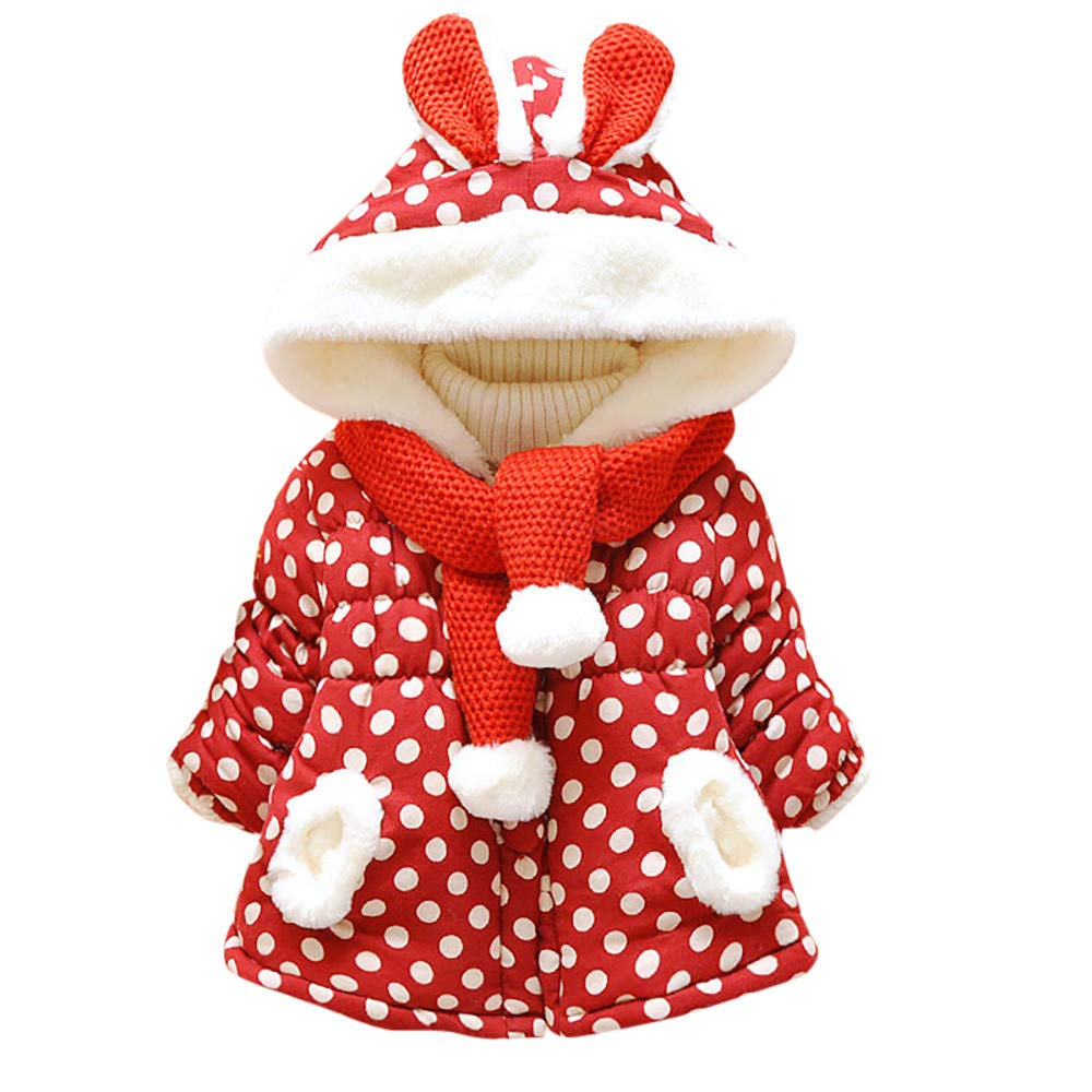 LIKESIDE Baby Girls Cute Rabbit Ears Hooded Polka Dot Winter Warm Coat Jackets