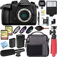 Panasonic LUMIX GH5 20.3MP 4K Mirrorless Digital Camera Body + 64GB Dual Memory & Microphone Deluxe Bundle