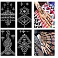 Henna Tattoo Stencils Kit Henna Paste Cones Stencils Hand Body Art Design Stencils 8 Sheets Indian Temporary Tattoos Stencils Self Adhesive Glitter Body Paint Stencils Reusable