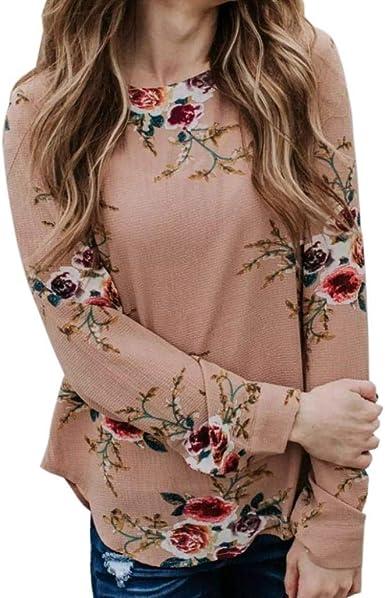 Betrothales Blusa Tops Camisas Estampado Manga Larga Camisetas Blusa Mujer para Otoño Floral Camisa Invierno Cuello Top Blusas Mujer para Redondo: Amazon.es: Ropa y accesorios