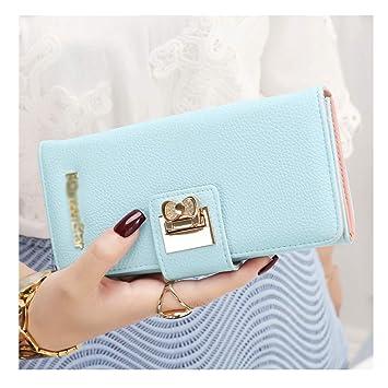 WEIFAN-wallet purse Monedero de la Mujer Cremallera Larga de la Mujer Broche con Hebilla