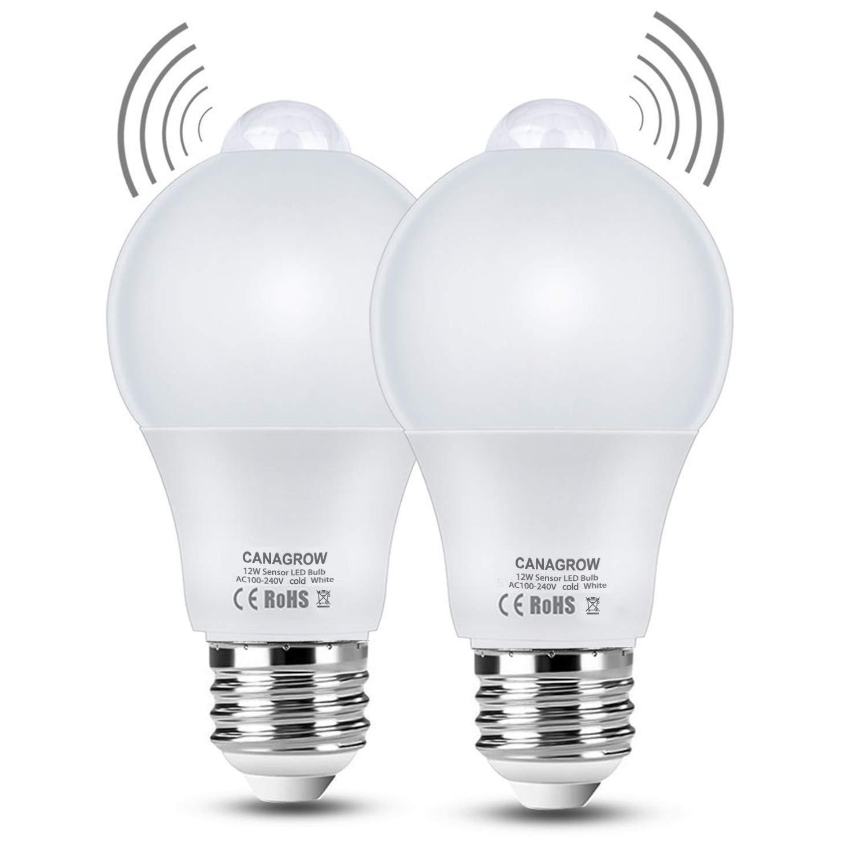 Motion Sensor Light Bulb, CANAGROW 12W (120-Watt Equivalent) Dusk to Dawn LED PIR Built-in Infrared Sensor and Light Sensor, E26 1100 Lumens Indoor Outdoor LED Light Bulbs Night Lights, 2 Pack