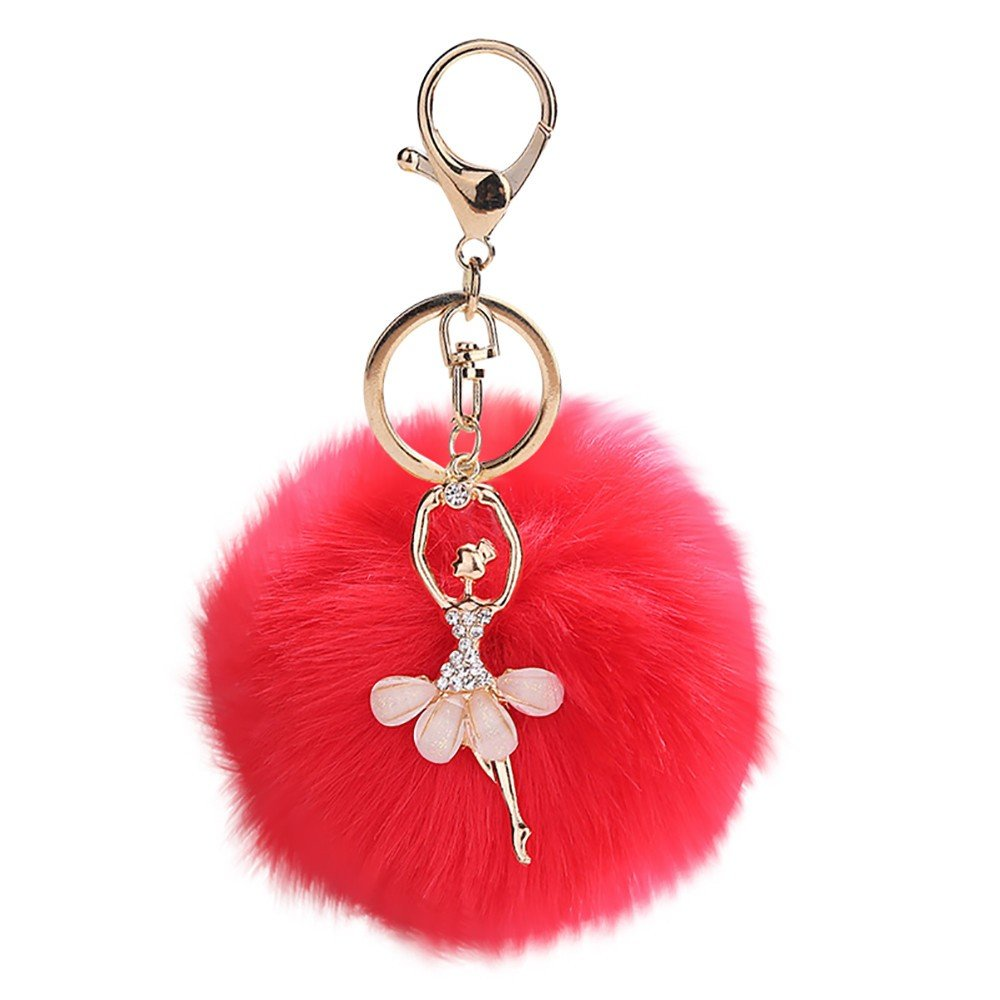 Gbell Pom Pom Keychains for Women Girls-Fluffy Cute Dancing Angel Puffy Ball Key Chains Cell Phone Bags Charm Pendant Gifts,1Pcs 8X8CM,Watermelon Red,Black,Blue,Purple,Khaki,Grey (Red)