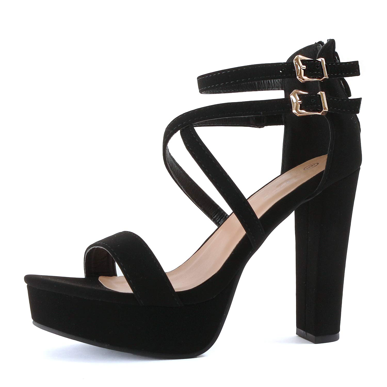 Women High Heel Strappy Ankle Buckle Block Sandals Open Toe Gladiator Shoe LG