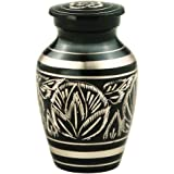 MEILINXU Funeral Keepsake Urn by Brass Mini Cremation Urn for Human Ashes Adult- Hand Engraved - Fits a Small Amount of Cremated Remains- Display Burial Urn at Home or Office (Majestic Radiance Baby